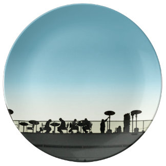 Rooftop Dining At Dusk Silhouette Plate
