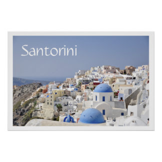 Rooftops, Santorini (Thira), Greece Poster