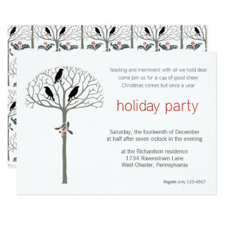 Rook and Holly Christmas Party Custom Invitation
