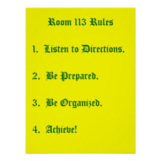 Room 113 Rules Poster