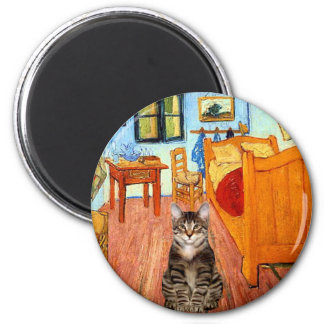 Room - Tabby Tiger cat 31 2 Inch Round Magnet