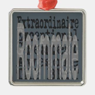 Roommate Extraordinaire Silver-Colored Square Ornament