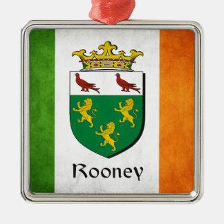 Rooney Irish Flag Silver-Colored Square Ornament