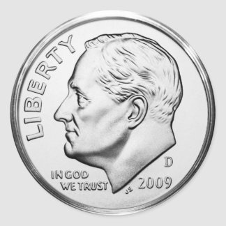 Roosevelt Dime (pack of 6/20) Round Sticker