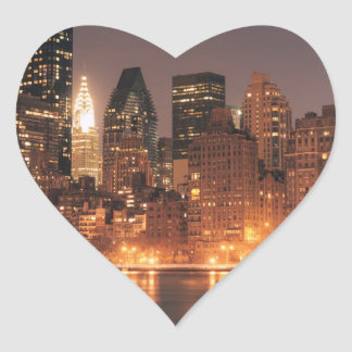 Roosevelt Island View of the New York City Skyline Heart Sticker