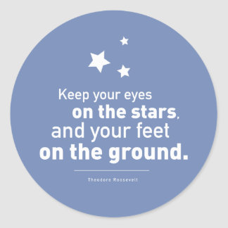 Roosevelt Quote Feet Star 20xstickers CUSTOM COLOR Classic Round Sticker
