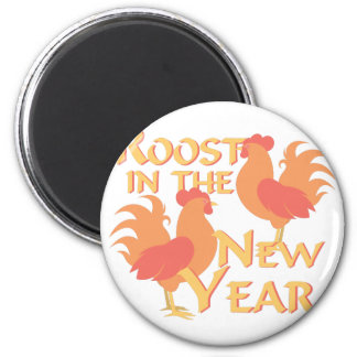 Roost In New Year 2 Inch Round Magnet