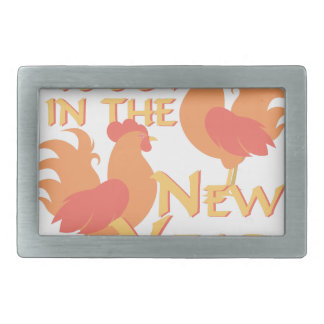 Roost In New Year Rectangular Belt Buckle