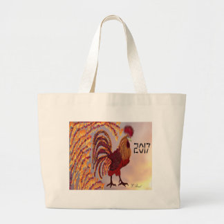 Rooster 2017 large tote bag