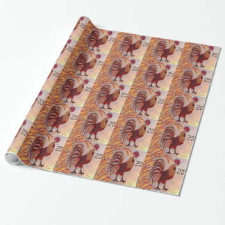 Rooster 2017 wrapping paper