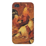 Rooster and chickens iPhone 4 case