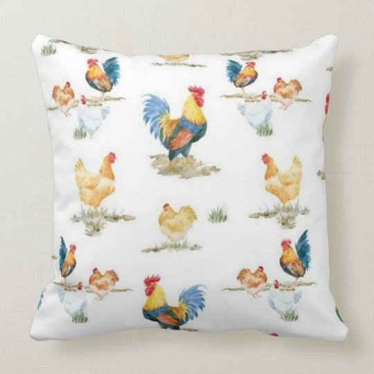 Rooster And Flock Throw Pillow