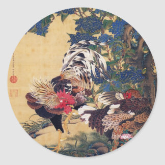 Rooster and Hen Classic Round Sticker