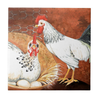 Rooster and Hen with eggs on the Nest Handpainted Tile