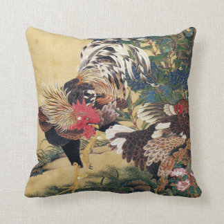Rooster and Hen with Hydrangeas Throw Pillow