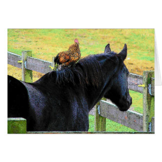 Rooster And Mare Card