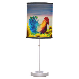 Rooster and sunflower garden lamp