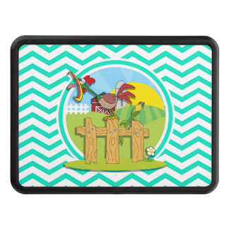 Rooster; Aqua Green Chevron Hitch Covers