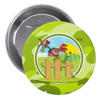 Rooster bright green camo camouflage button