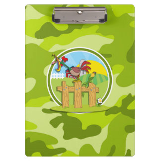 Rooster; bright green camo, camouflage clipboard