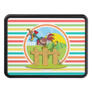 Rooster; Bright Rainbow Stripes Hitch Covers