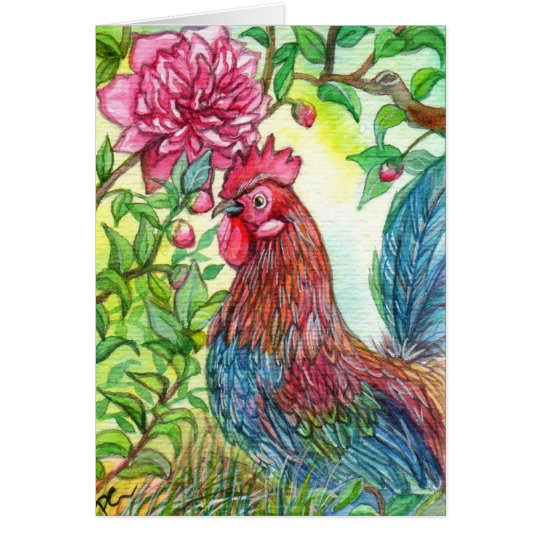 Rooster By Peony Card