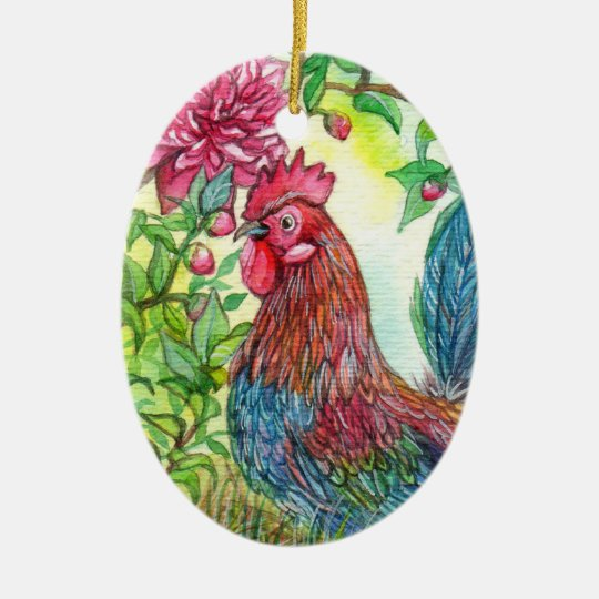 Rooster By Peony Ceramic Oval Ornament