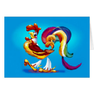 Rooster Cartoon Greeting Card