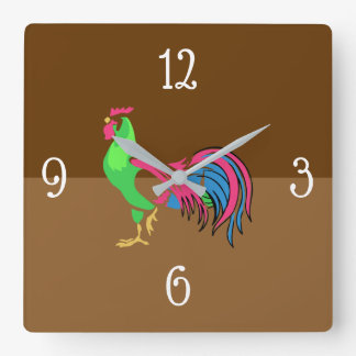 Rooster Charm Square Wall Clock