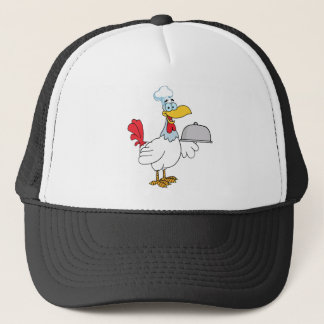 Rooster Chef Serving Food In A Sliver Platter Trucker Hat