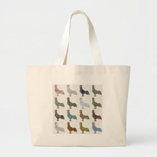 Rooster Country Pattern Large Tote Bag