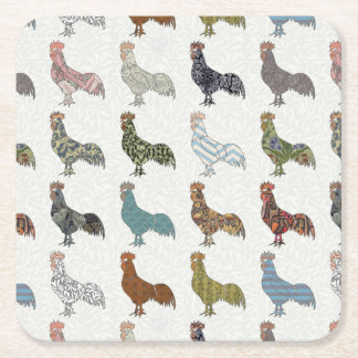 Rooster Country Pattern Square Paper Coaster