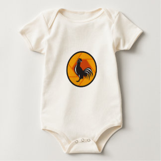 Rooster Crowing Shutter Circle Retro Baby Bodysuit