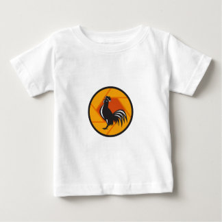Rooster Crowing Shutter Circle Retro Baby T-Shirt