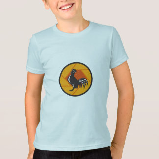 Rooster Crowing Shutter Circle Retro T-Shirt