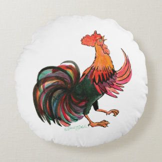 Rooster Crows Round Pillow