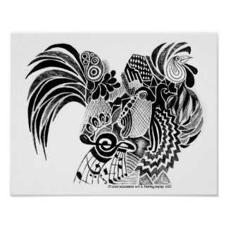 Rooster Doodle Poster