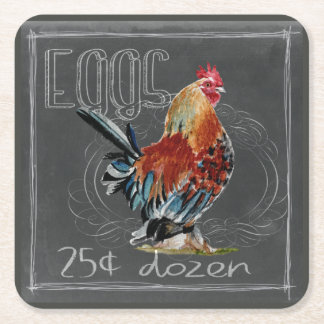 Rooster Eggs On Chalkboard Square Paper Coaster