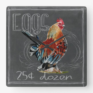 Rooster Eggs On Chalkboard Square Wall Clock