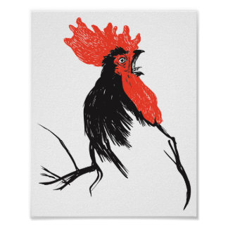 rooster head poster
