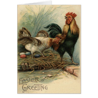 Rooster Hen Easter Colored Painted Egg Nest Card