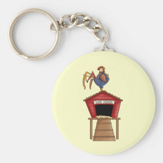 Rooster Hen House Basic Round Button Keychain