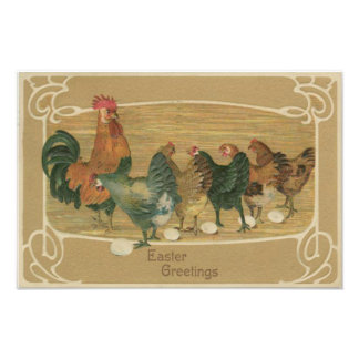Rooster Hen Laying Easter Egg Photograph