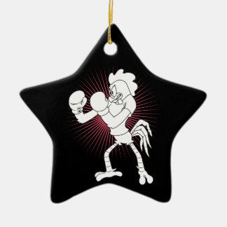 Rooster in gloves ceramic star ornament