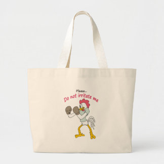 Rooster in gloves large tote bag