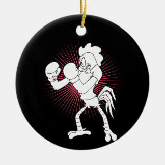 Rooster in gloves round ceramic ornament