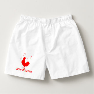 Rooster in Silhouette with Music Notes Boxers