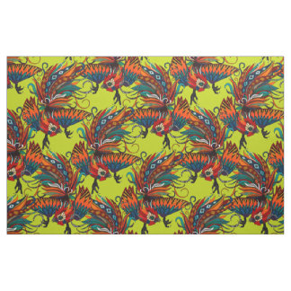 rooster ink chartreuse fabric