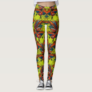 rooster ink chartreuse leggings