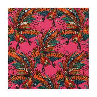 rooster ink pink wood print